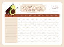 Daily Planner For Dreamers With Cute Cartoon Avocado Character. My Goals Bring Me Closer To My Dreams. Useful Habits Tracker. Printable Template With Check List. Ideal For Print, Dairy, Poster