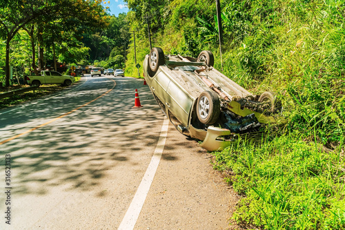 Car accident overturned on the road Canvas Print