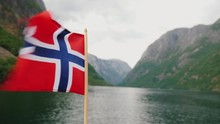 Norway Flag On The Bow Of A Sh...