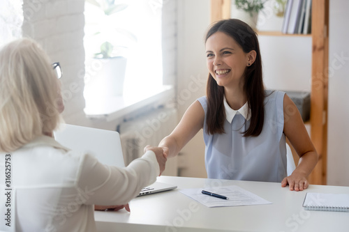 Businesswomen greets each other shake hands starting negotiations formal meeting Wallpaper Mural
