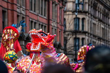 Dancing Dragon In Chinese New Year Festival Fun Puppet People Parade Festival Celebration Uk Manchester Red