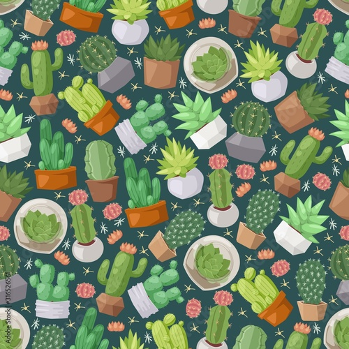 Obraz Cactus and succulent plants seamless pattern, vector illustration. Isolated icons of cute houseplants, decorative cacti in flowerpots. Wrapping paper design, background print - fototapety do salonu