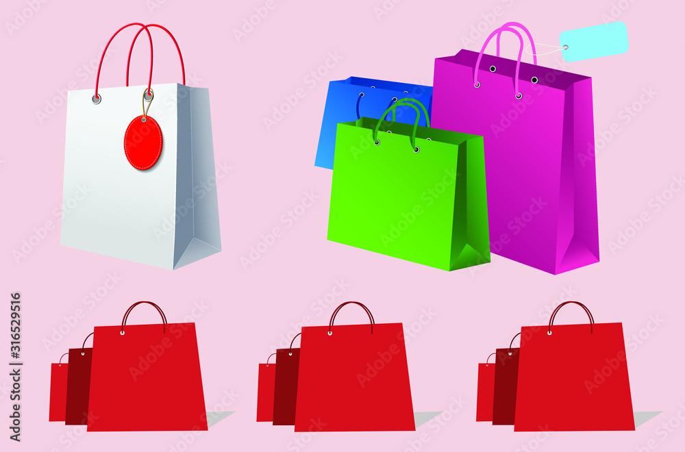 Fototapeta set of shopping bags isolated on white