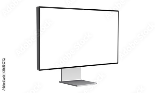 Obraz na plátně Modern computer monitor mockup isolated on white background side view