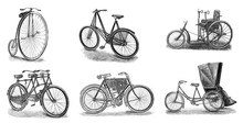 Old Antique Bicycles Collage /...
