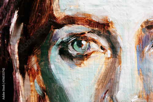 Blue eyes illustration Wallpaper Mural