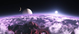 Sunrise of a star on a planet, Venus at sunrise, the sun above the clouds, alien landscape, 3D rendering
