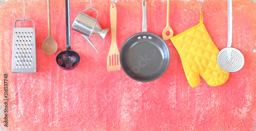 Fotomural Kitchen utensils for commercial kitchen, restaurant,cooking,culinary