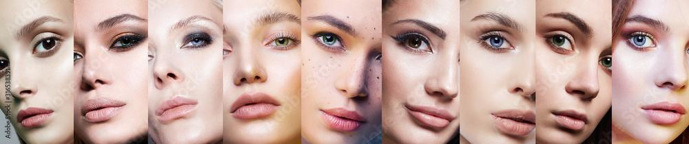 Fototapeta Different female eyes. collage of beautiful women