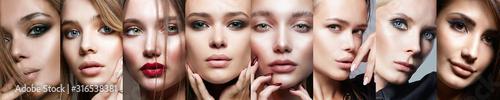 Fotografie, Obraz  Female faces. collage of beautiful teen girls