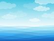 Abstract sea waves. Blue wavy ocean, sky and white clouds, flowing river water landscape wallpaper design, creative vector cartoon background