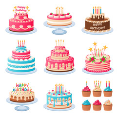 Torte iz crtića. Šarene ukusne slastice, rođendanska torta sa svijećama za proslavu i kriške čokolade, vektorski set kolača za odmor