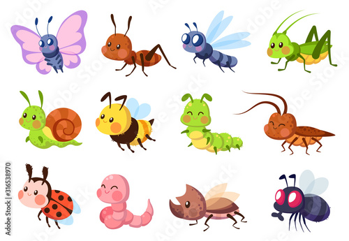 Cute insects. Bugs creatures bee and ladybug, worm, snail and butterfly, caterpillar. Mantis, dragonfly and fly cartoon vector set