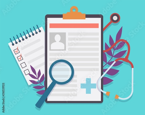 Medical record. Patient card medical history and diagnosis, medicine checklist with checkbox. Healthcare insurance service vector concept Fototapete