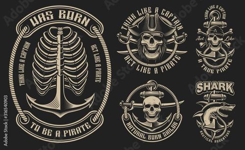 Obraz Set of vector illustrations for the pirate theme - fototapety do salonu