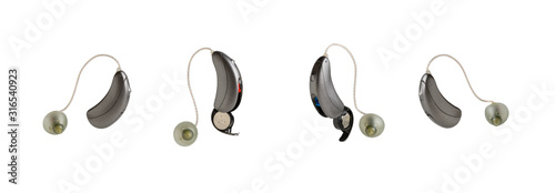 Fotografie, Tablou Hearing aids for hearing impairment, white background