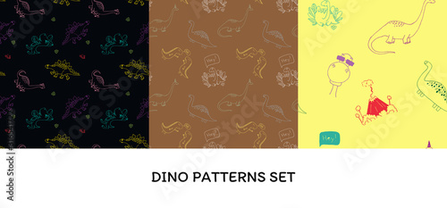 Photo Vector illustration set seamless pattern with dinosaurus on different background