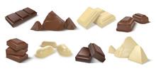Chocolate Pieces. Realistic Da...