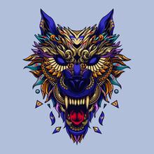 Ethnic Wolf Illustration Tatto...