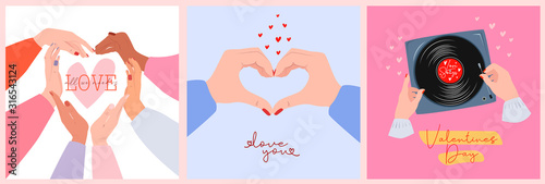 Obraz Set of cute romantic greeting cards for Valentines Day. Romantic typography and elements perfect for prints. Editable vector illustration. - fototapety do salonu