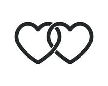 Locked, Linked Love Heart Shape Vector Icon Sign. Isolated On White Background. Like, Weddings Hearts Logo Symbol Image.