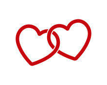 Locked, Linked Love Heart Shap...