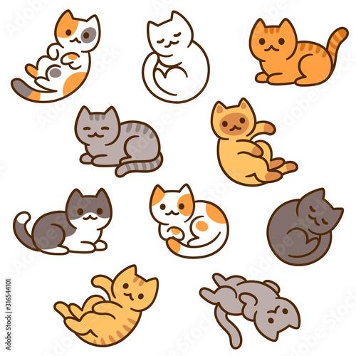 Fototapeta Cute cartoon cat set