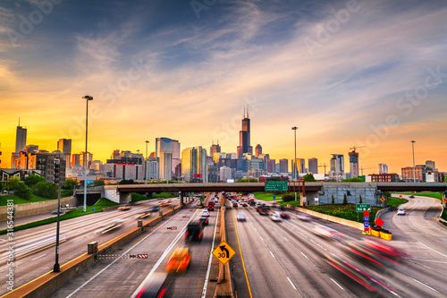 Obraz Chicago, IL, USA Cityscape and Highway - fototapety do salonu