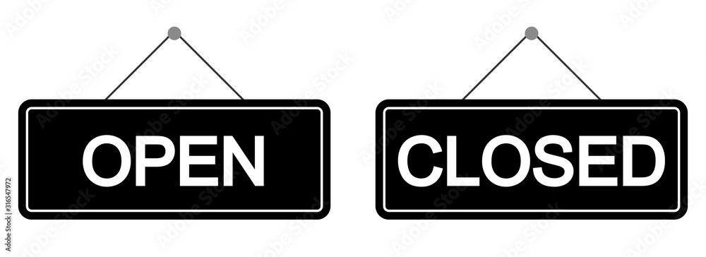 Fototapeta Open and closed sign set. Vector