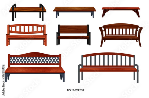 set of realistic bench wood garden or street bench seat or bench cartoon Fototapeta