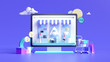Shopping on-line online store on website mobile application 3d rendering