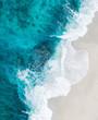 wave of blue ocean on sandy beach. Background.