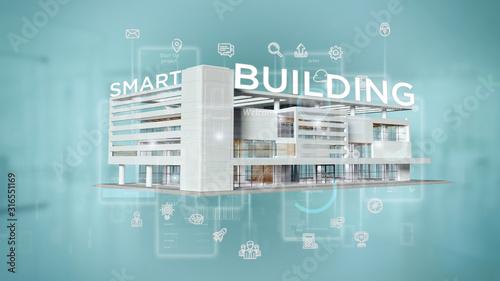 Fotomural Smart building connected - 3d rendering