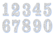 Glitter 3d Silver Numbers 20 30 40 50 60. Isolated 0 1 2 3 4 5 6 7 8 9 10 On White Background For Decoration Of Cute Wedding, Anniversary, Baby Little Princess Party, Label, Headline, Poster, Sticker.