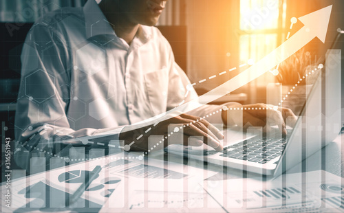 Foto Double Exposure Image of Business and Finance - Businessman with report chart up forward to financial profit growth of stock market investment
