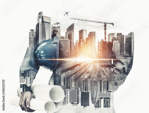 Obraz Future building construction engineering project concept with double exposure graphic design. Building engineer, architect people or construction worker working with modern civil equipment technology. - fototapety do salonu