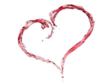 Heart Shaped Red Wine Splash.