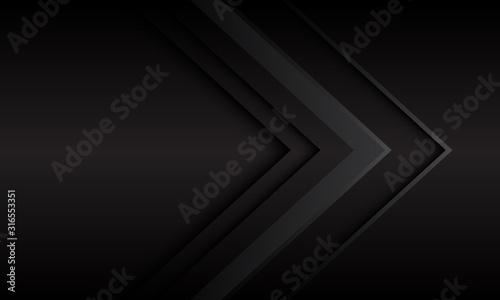 Fototapeta Abstract dark grey metallic arrow direction with blank space design modern futuristic background vector illustration. obraz