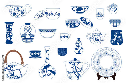 Chinese porcelain set, Ceramic teapot, kettle, pitcher, plate, vase, bowl, jug, jar, pot, cup and saucer isolated on white Canvas Print