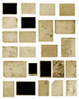canvas print picture - Set of old vintage dirty photo postcards on isolated background