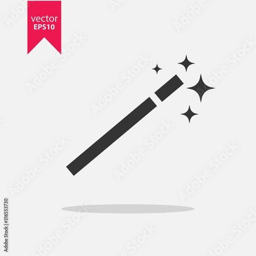Obraz na plátně Magic wand icon vector stick with shadow