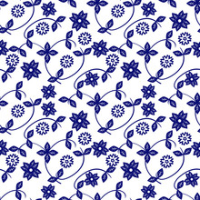 Ceramic Blue And White Floral Pattern. Cute Porcelain Background Design. Great For Wallpaper, Gifts, Textile,  Packaging Design.