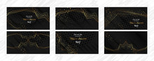 Set Of Gold Frames Black Glitt...