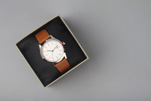 Men's Leather Wrist Watch In Gift Box