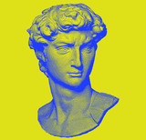 Surrealistic vector pixel art ilustration with Michelangelo's David bust. Vaporwave and retrowave style, postmodern aesthetics with Renaissance antique sculpture. - 316556394