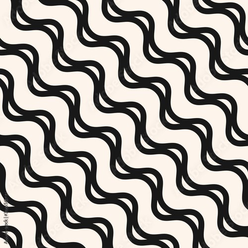 Fototapety, obrazy: Vector wavy lines seamless pattern. Abstract texture with diagonal waves, stripes, smooth bends. Simple monochrome background. Black and white repeatable design for decor, wallpapers, fabric, print