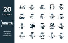 Sensor Icon Set. Include Creative Elements Water Quality Sensor, Smoke Detector, Gas, Rain Sensor, Humidity Sensor Icons. Can Be Used For Report, Presentation, Diagram, Web Design