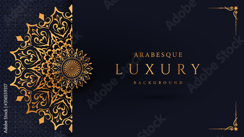 Luxury mandala background with golden arabesque pattern arabic islamic east style Canvas Print
