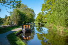 Moored Narrowboats On The LLan...