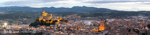 Panorama of Caravaca De La Cruz cityscape and castle, Pilgrimage site near Murcia, in Spain. One of the 5 holy cities in the world.
